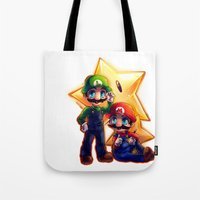 mario bros Tote Bags featuring Mario Bros. by StephanieIllustrations