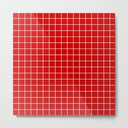 Rosso corsa - red color - White Lines Grid Pattern Metal Print