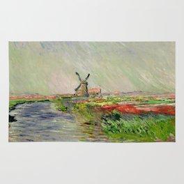 "Claude Monet ""Tulip field in Holland (Champ de tulipes en Hollande)"" Rug"