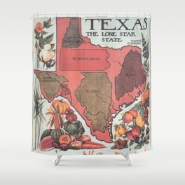 Vintage Texas Agricultural Map (1922) Shower Curtain