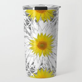 Decorative B&W Yellow-White Sunflowers Travel Mug