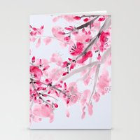 cherry blossoms Stationery Cards featuring Cherry Blossoms  by Catherine Holcombe