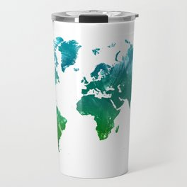 Green watercolor world map Travel Mug