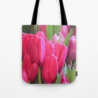 tulips Tote Bags featuring Tulips by lillianhibiscus