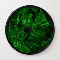 ali gulec Wall Clocks featuring Ali - green by Keren Shiker