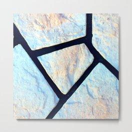 stone black line uneven ocean blue brown pattern Metal Print