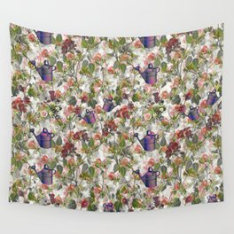 Floral with Watering Can Wall Tapestry