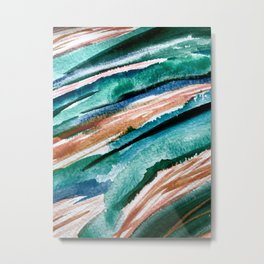 Here's to the Dreamers [2]: a minimal, watercolor abstract piece in pinks, green, blue, and white Metal Print
