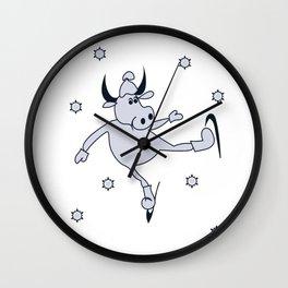 New year 2021 bull figure skater Wall Clock