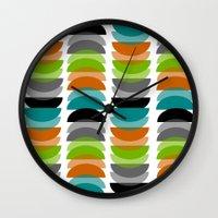 mid century modern Wall Clocks featuring Mid-Century Modern Geometric by Kippygirl