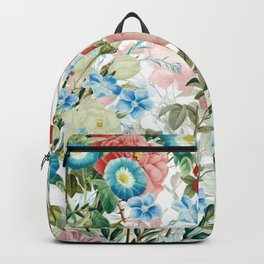 Vintage & Shabby Chic - Pastel Blue and Blush Pink Flower Meadow Backpack