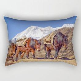 Bhutan Horses Mountain Landscape Rectangular Pillow
