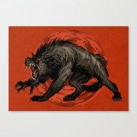 werewolf Canvas Prints featuring werewolf by panthervogel