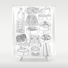 Sunday Dim Sum - Line Art Shower Curtain