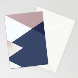 Geometrics - blush indigo rose gold Stationery Cards