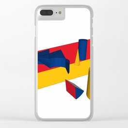 geometric primary colours Clear iPhone Case