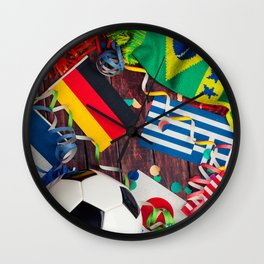 International Soccer Collage With Fan Items Wall Clock