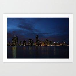 Downtown Miami Night Art Print
