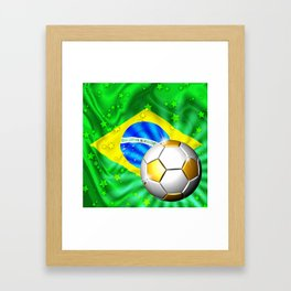 Brazil Flag Gold Green and Soccer Ball Framed Art Print