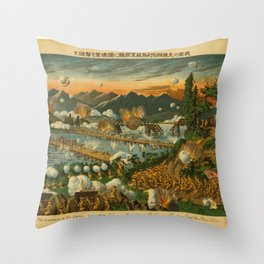 Vintage Print - Illustrations of the Siberian War (1919) - The Japanese Defeat a German Army at Usri Throw Pillow