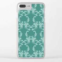 Turquoise damask pattern Clear iPhone Case