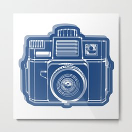 I Still Shoot Film Holga Logo - Blue Metal Print