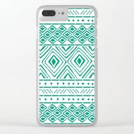 African Mud Cloth // Aquamarine Clear iPhone Case