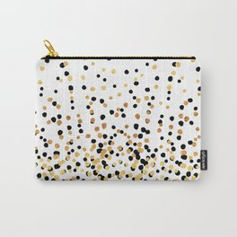 Floating Dots - Black and Gold on White Carry-All Pouch