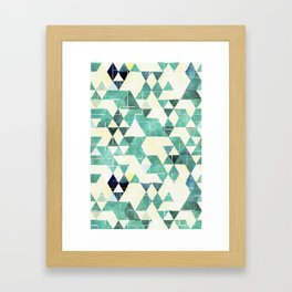 Abstract Green Triangles, Watercolor Pattern Framed Art Print