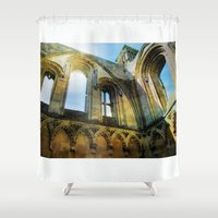 downton abbey Shower Curtains featuring Glastonbury Abbey  by Little Bunny Sunshine