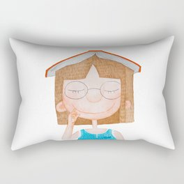 Smiling little cute girl with eyeglasses, and red book on her head. Watercolor illustration. Rectangular Pillow