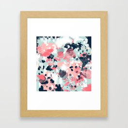 Isla - abstract painting navy mint coral trendy color palette summer bright decor Framed Art Print