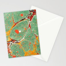 Marbled Green Orange 2A Stationery Cards
