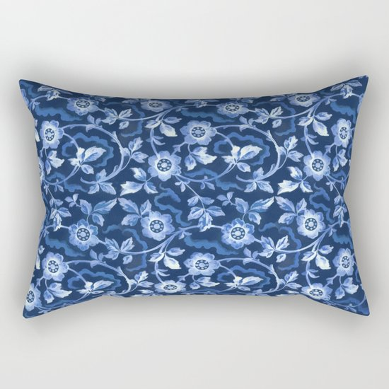 Blue floral pattern Rectangular Pillow