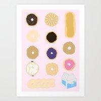 liz lemon Art Prints featuring Liz Lemon's Donut Order by ohmymaude