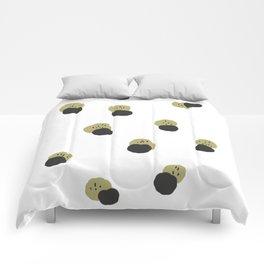 black and mustard minimal abstract print Comforters