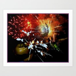 Fireworks explode in space Art Print