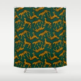 Tigers (Dark Green and Marigold) Shower Curtain