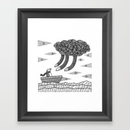 Penguins And A Death Cloud Framed Art Print