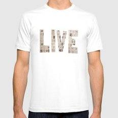 Live  Mens Fitted Tee White MEDIUM