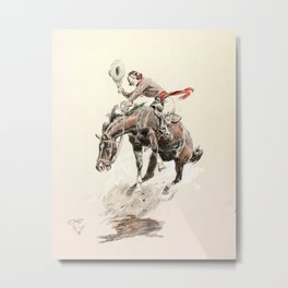 Bucking Horse and Cowgirl (1925) by Charles Marion Russell Metal Print