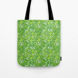 Funny green frogs entangled in a messy pattern Tote Bag