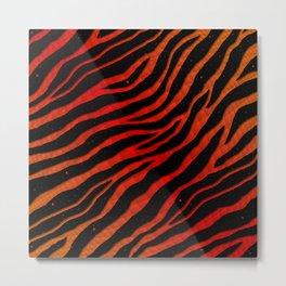 Ripped SpaceTime Stripes - Orange/Red Metal Print