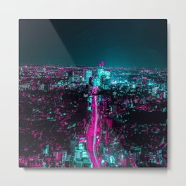 future city vaporwave Metal Print