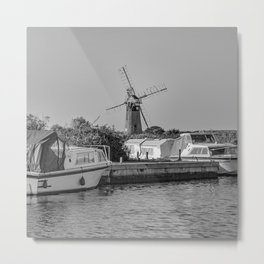 Boats moored up at Thurne Mouth Metal Print