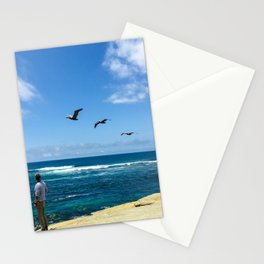 3 Pelicans at La Jolla Cove Stationery Cards