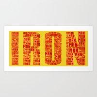ironman Art Prints featuring IRONman  by Kramcox