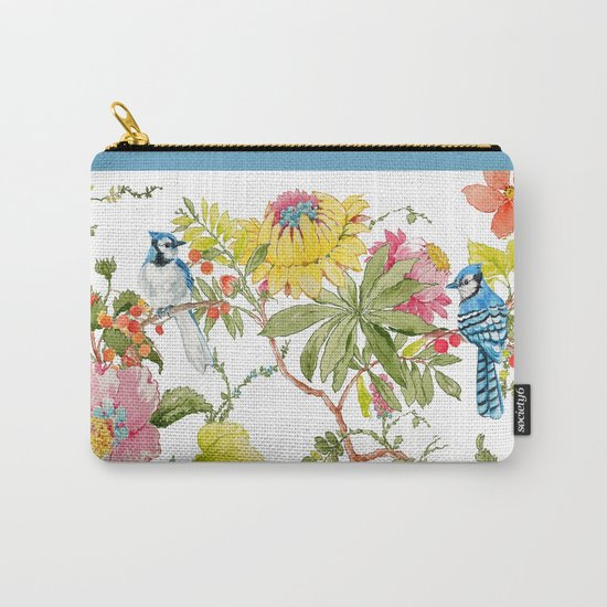 Bluejay Bird Day Floral Carry-All Pouch
