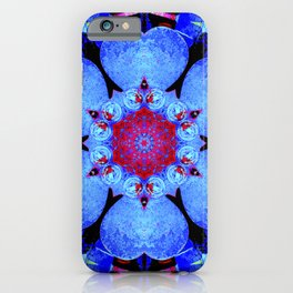 Conceptual abstract infinite red sun burst rays flower pattern in an ornate blue universe design iPhone Case