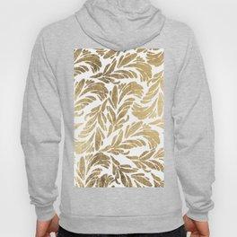 Elegant white chic faux gold foil floral damask pattern Hoody